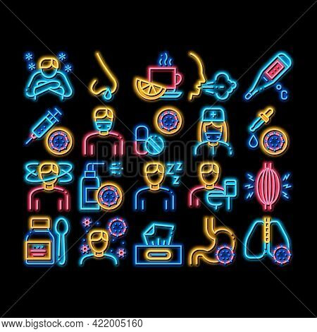 Flu Symptoms Medical Neon Light Sign Vector. Glowing Bright Icon Chills And Fever, Cough And Runny N