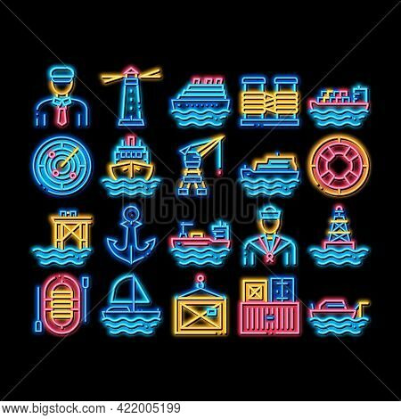 Marine Port Transport Neon Light Sign Vector. Glowing Bright Icon Port Dock And Harbor, Lighthouse A