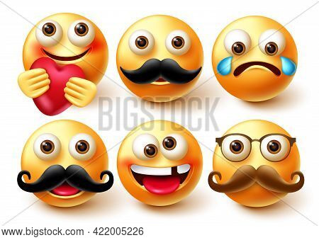 Emoji Vector Character Set. Emoticon 3d Characters In Happy And Crying Emotion With Elements Like Mo