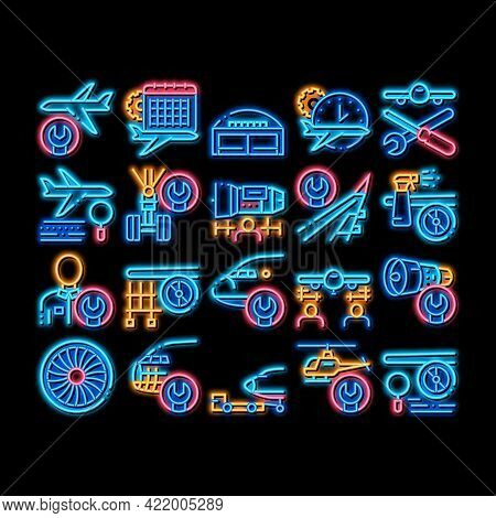 Aircraft Repair Tool Neon Light Sign Vector. Glowing Bright Icon Aircraft Engine And Chassis, Helico