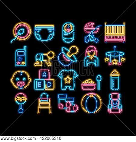 Baby Clothes And Tools Neon Light Sign Vector. Glowing Bright Icon Baby And Pregnancy Woman, Strolle