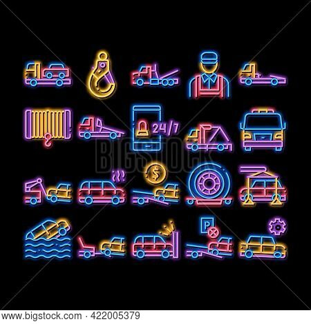 Tow Truck Transport Neon Light Sign Vector. Glowing Bright Icon Tow Truck Evacuating And Transportat