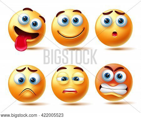 Emoticon Vector Character Set. Emoji 3d Emoticons Isolated In White Background With Face Like Happy,