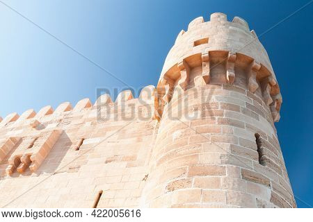 Tower Of The Citadel Of Qaitbay Or The Fort Of Qaitbay In Alexandria, Egypt. It Is A 15th-century De
