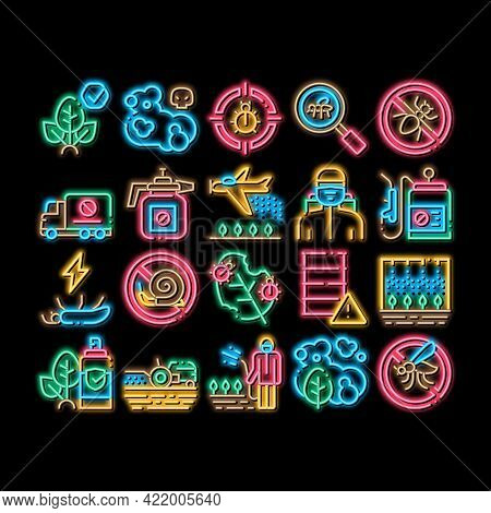 Pesticides Chemical Neon Light Sign Vector. Glowing Bright Icon Pesticides For Agricultural Field Pr