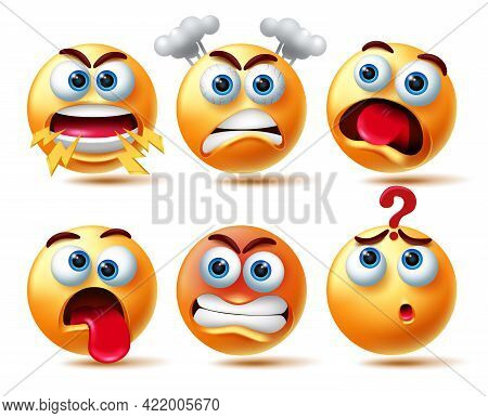 Emoji Vector Character Set.3d Emoticon In Angry And Weird Emotions Like Shouting, Furious, Shocked A