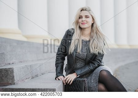 Happy Woman Of Plus Size, American Or European Appearance Enjoying Life. Young Lady With Excess Weig
