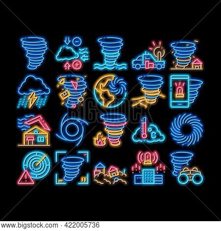 Tornado And Hurricane Neon Light Sign Vector. Glowing Bright Icon Tornado Blowing House Roof, Cyclon