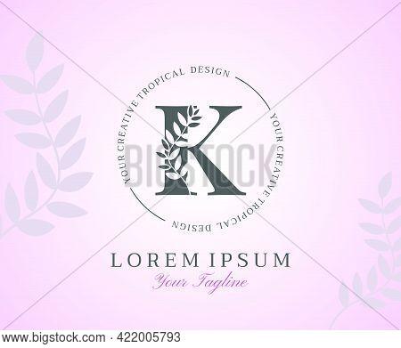Feminine Letter K Logo With Nature Leaves Texture Design Logo Icon. Creative Beauty Alphabetical Bea