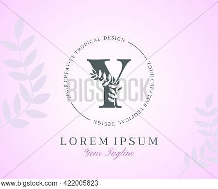 Feminine Letter Y Logo With Nature Leaves Texture Design Logo Icon. Creative Beauty Alphabetical Bea