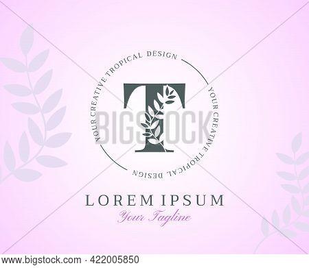 Feminine Letter T Logo With Nature Leaves Texture Design Logo Icon. Creative Beauty Alphabetical Bea