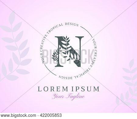 Feminine Letter N Logo With Nature Leaves Texture Design Logo Icon. Creative Beauty Alphabetical Bea