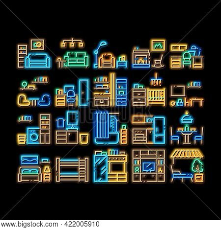Home Rooms Furniture Neon Light Sign Vector. Glowing Bright Icon Sofa And Table, Lamp And Chair, Fir