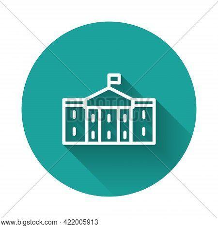 White Line United States Capitol Congress Icon Isolated With Long Shadow Background. Washington Dc,