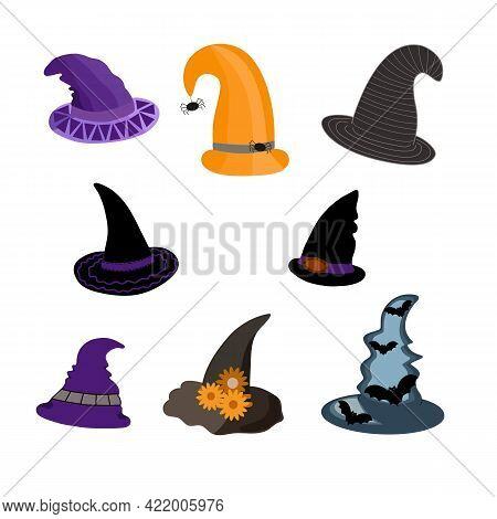 Witch Hats Festive Set, Cute Fancy Magic Accessory Vector Flat Style Simple Illustration, Isolated O