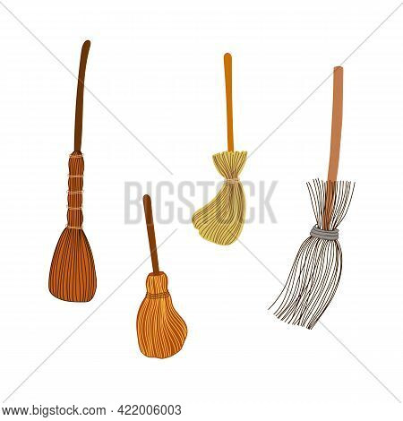 Old Witch Magic Brooms Hand Drawn Isolated Vector Illustration, Halloween Party Design Element, A Wi