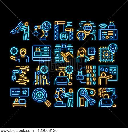 Robotics Master Neon Light Sign Vector. Glowing Bright Icon Human Worker With Drone And Robot Machin