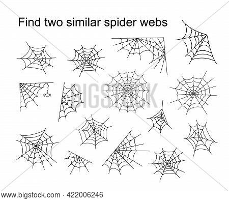 Find Two Similar Halloween Spider Webs Educational Activity For Children, Outline Hand Drawn Vector