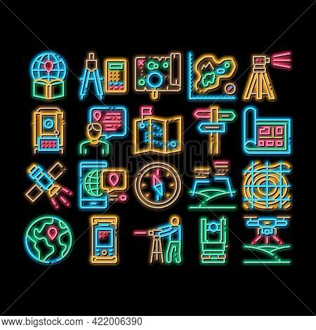 Topography Research Neon Light Sign Vector. Glowing Bright Icon Topography Equipment And Device, Com