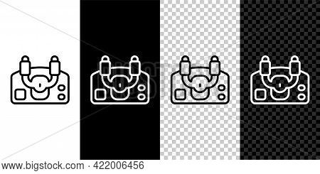 Set Line Aircraft Steering Helm Icon Isolated On Black And White, Transparent Background. Aircraft C