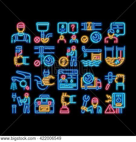 Plumber Profession Neon Light Sign Vector. Glowing Bright Icon Plumber Worker And Equipment, Faucet