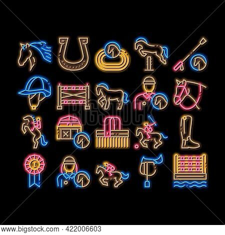 Equestrian Animal Neon Light Sign Vector. Glowing Bright Icon Equestrian Horse And Polo Game, Rider