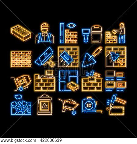 Bricklayer Industry Neon Light Sign Vector. Glowing Bright Icon Professional Bricklayer Worker, Maso