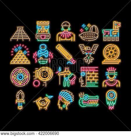 Aztec Civilization Neon Light Sign Vector. Glowing Bright Icon Aztec Antique Pyramid And Gold, Bird