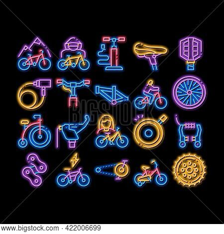 Bicycle Bike Details Neon Light Sign Vector. Glowing Bright Icon Mountain Bicycle Wheel And Seat, Br