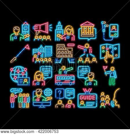 Guide Lead Traveler Neon Light Sign Vector. Glowing Bright Icon Bus And Media Player Guide, Badge An