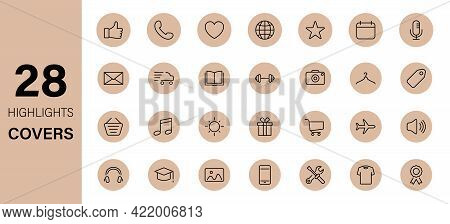 Highlights Line Icon Set. Stories Covers Linear Icons. Highlights For Lifestyle, Travel And Beauty B