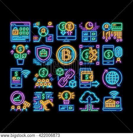 Fintech Innovation Neon Light Sign Vector. Glowing Bright Icon Bitcoin Financial Technology, Binary