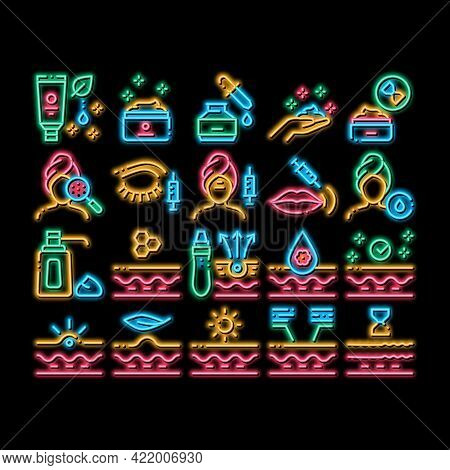 Skin Care Cosmetic Neon Light Sign Vector. Glowing Bright Icon Skin Care Cream And Moisturizing Oil,