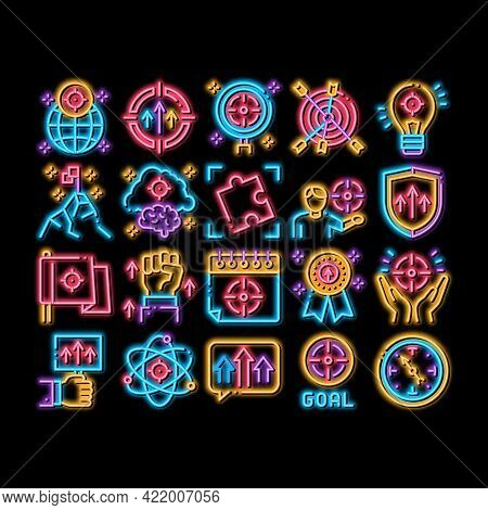 Goal Target Purpose Neon Light Sign Vector. Glowing Bright Icon Goal Aim On Planet And Lightbulb, At