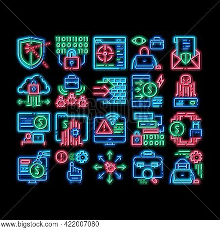Pentesting Software Neon Light Sign Vector. Glowing Bright Icon Pentesting Programming Code, Cyberse