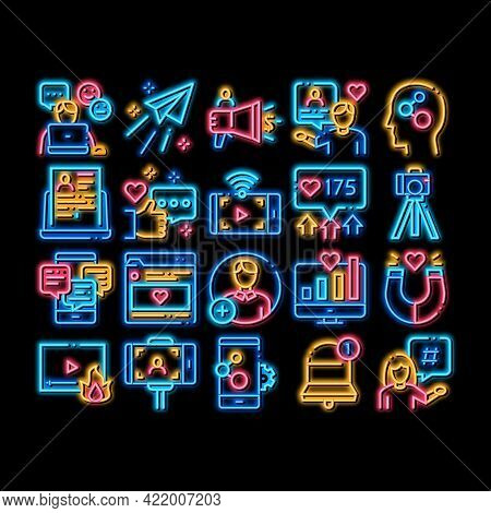 Blogger Internet Social Channel Neon Light Sign Vector. Glowing Bright Icon Blogger Web Site And Lik