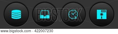 Set Database, Social Media Inbox, Clock 24 Hours And Floppy Disk The 5.25-inch Icon. Vector