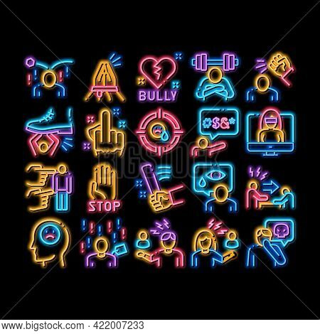 Bullying Aggression Neon Light Sign Vector. Glowing Bright Icon Internet Bullying And Name-calling,