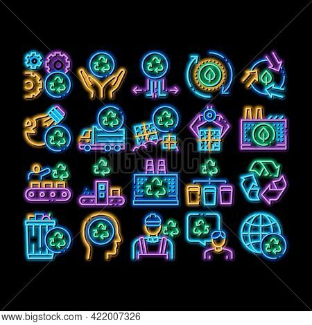 Recycle Factory Ecology Industry Neon Light Sign Vector. Glowing Bright Icon Garbage Truck And Plant