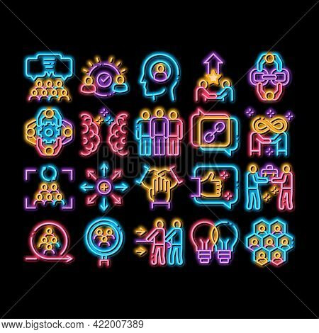 Collaboration Work Neon Light Sign Vector. Glowing Bright Icon Human And Brain Collaboration, Worker