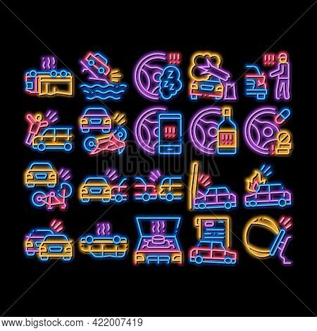Car Crash Accident Neon Light Sign Vector. Glowing Bright Icon Car Crash And Burning, Airbag Deploye