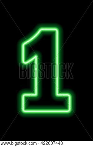 Neon Green Number 1 On Black Background. Learning Numbers, Serial Number, Price, Place.