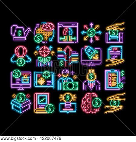 Crowdfunding Business Neon Light Sign Vector. Glowing Bright Icon Crowdfunding Financial Web Site An