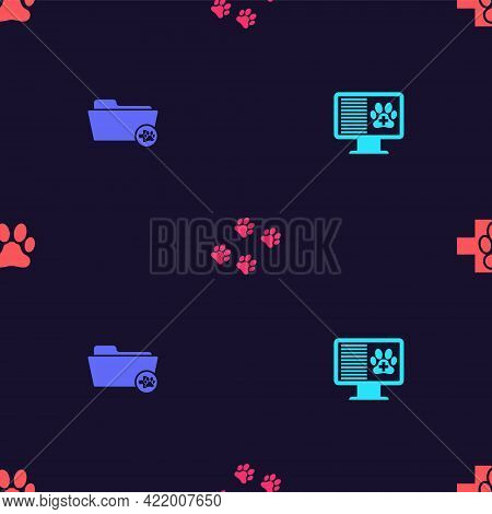 Set Clinical Record Pet On Monitor, Medical Veterinary Folder, Paw Print And Veterinary Clinic On Se