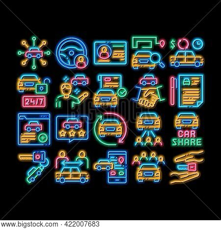 Car Sharing Business Neon Light Sign Vector. Glowing Bright Icon Car Share Deal And Agreement, Web S