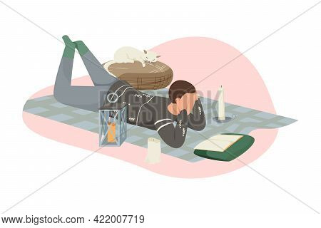 Hygge Lifestyle Composition With Character Reading On Carpet With Candles And Sleeping Cat Flat Vect