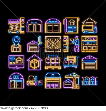 Warehouse And Storage Neon Light Sign Vector. Glowing Bright Icon Warehouse Building And Constructio