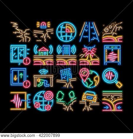Earthquake Disaster Neon Light Sign Vector. Glowing Bright Icon Building And Road Destruction, Stone
