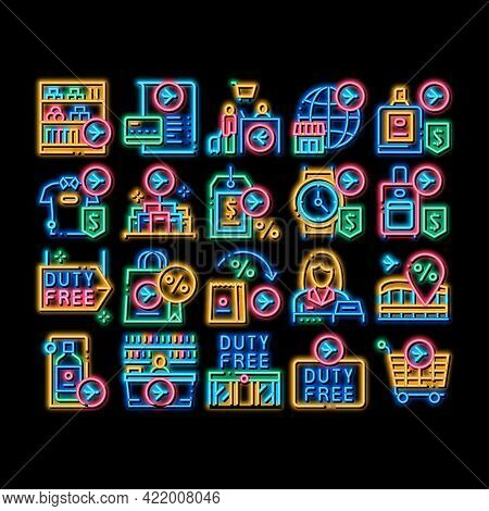 Duty Free Shop Store Neon Light Sign Vector. Glowing Bright Icon Duty Free Nameplate And Product, Ba