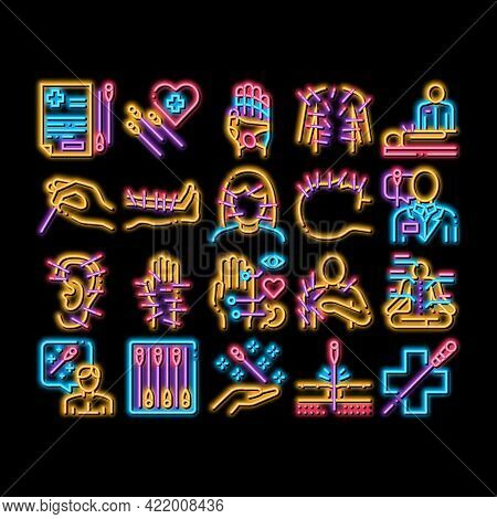 Acupuncture Therapy Neon Light Sign Vector. Glowing Bright Icon Human Head And Hand, Ear, Face And B